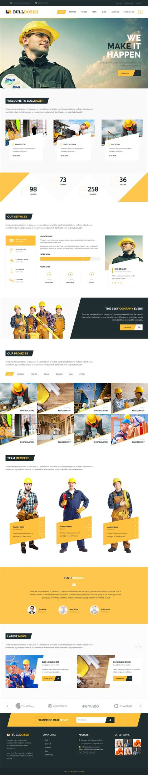 bootstrap templates for construction bulldozer is an multipurpose premium bootstrap niche