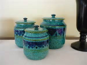 Vintage Ceramic Kitchen Canisters by Vintage Ceramic Canister Set Retro Pottery Containers By