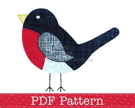 pattern for christmas robin robin applique template pdf pattern bird animal applique