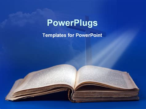 Powerpoint Template An Old Bible And Cross For Religious Studies On A Blue Background 25210 Bible Powerpoint Templates