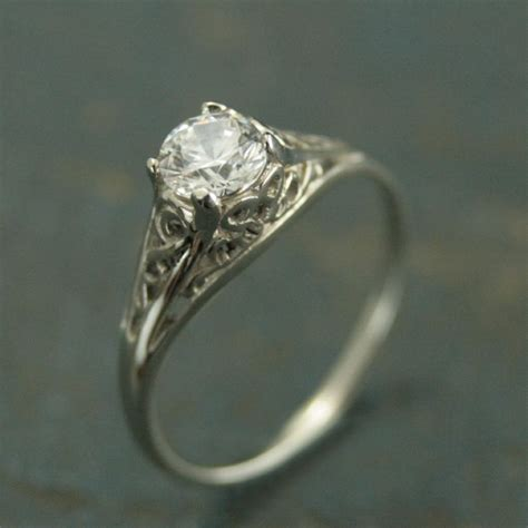 vintage style wedding ring with filigree 14k white gold vintage style filigree engagement ring