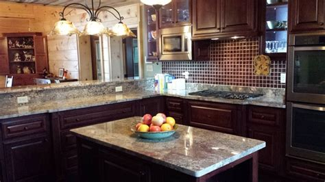 Bordeaux Kitchen Cabinets by Cherry Cabinets With Crema Bordeaux Granite