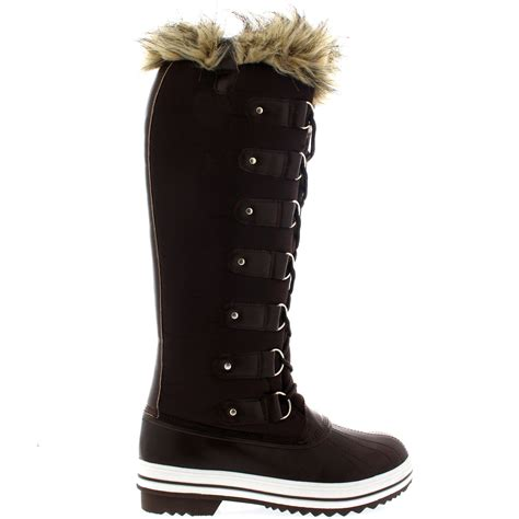 womans fur boots womens fur cuff lace up rubber sole knee high winter snow