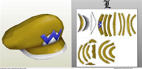 Papercraft Hat - papercraft pdo file template for mario wario s hat