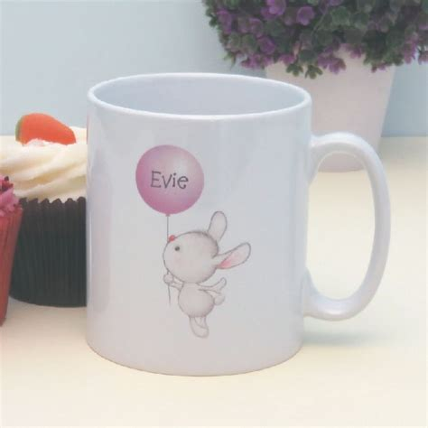 mug design for christening bunny with balloon personalised mug special personalised