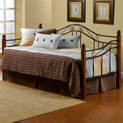 day bed images hillsdale madison metal with wood posts daybed daybeds
