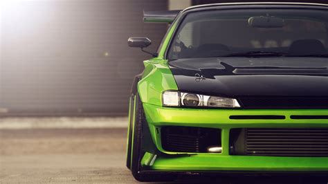 tuned cars green nissan silvia carbon hood tuning wallpaper http