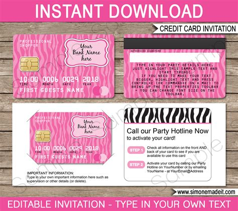 downloadable credit card template for credit card invitations mall scavenger hunt invitations
