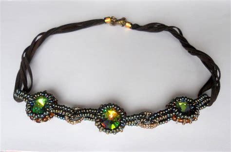 bead woven jewelry woven necklace rivoli seed by