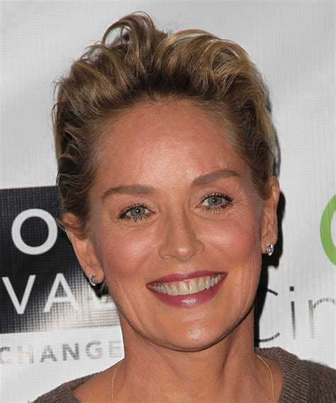 sharon stone hairband sharon stone short straight casual hairstyle dark blonde