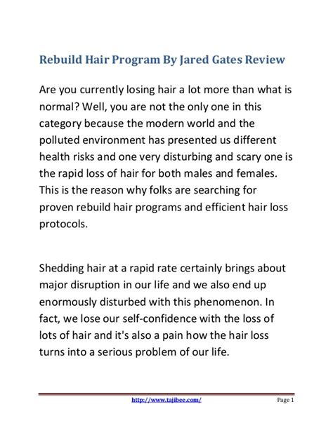 Rebuild Hair Program Free Download | rebuild hair program by jared gates review