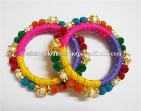 Handcrafted Bangles - handmade bangles made of velvet silk golden thread for