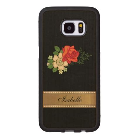 Black Gold F0302 Samsung Galaxy S7 Edge Custom Cover and daisies gold personalized name wood samsung galaxy s7 edge zazzle