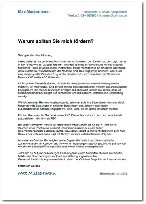 Deutschland Stipendium Bewerbung Motivationsschreiben Motivationsschreiben Verfassen Anleitung Muster