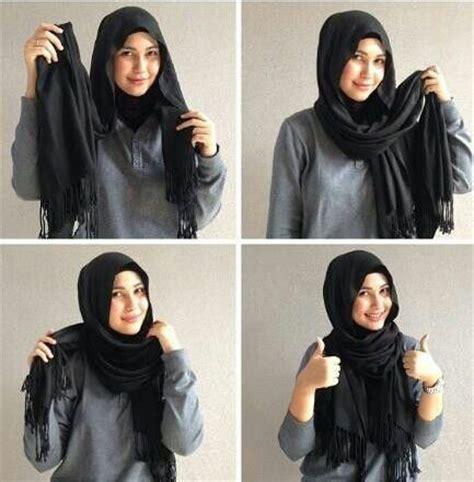 easy simple tutorial  black hijab hijabiworld
