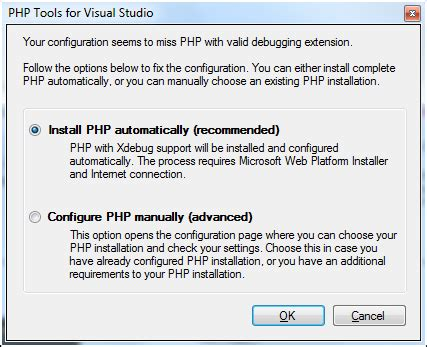 configure xdebug xp installing php php tools for visual studio documentation