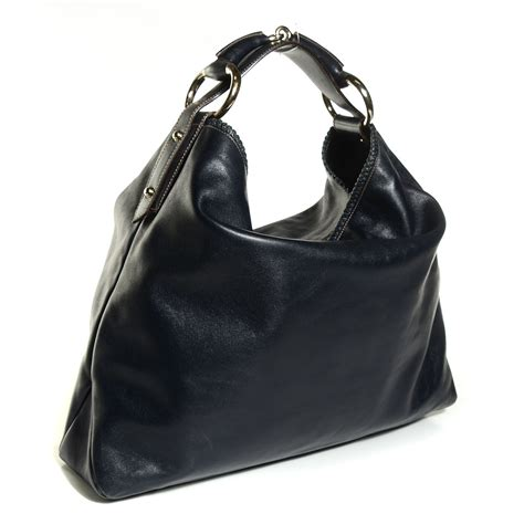 Gucci Chain Large Hobo by Gucci Calfskin Large Horsebit Chain Hobo Navy Blue