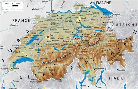 physical map of switzerland image gallery switzerland geography