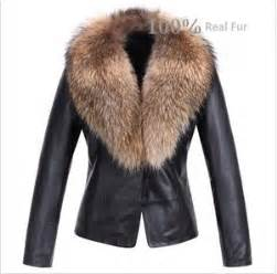 womens real leather soft jacket with raccoon fur