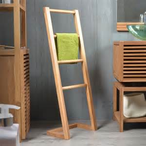 Tikamoon solid teak bathroom towel rack stand hanger