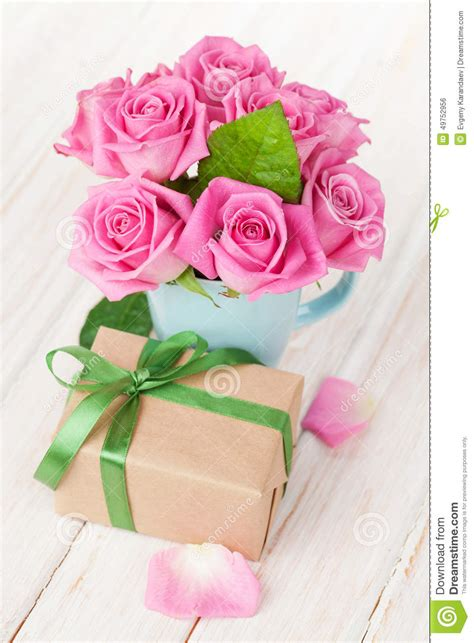 valentines day pink roses bouquet and gift box stock photo image 49752956