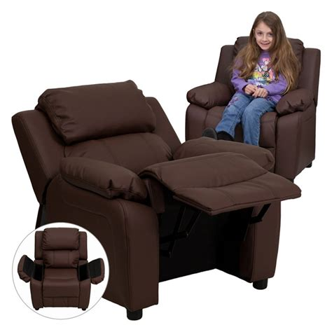 flash furniture kids leather recliner  storage arms
