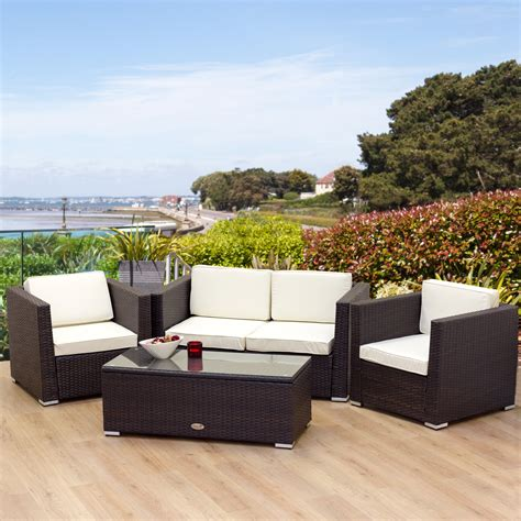 2 Seater Rattan Sofa New Rattan Garden Furniture Oxford 4 Seater Brown