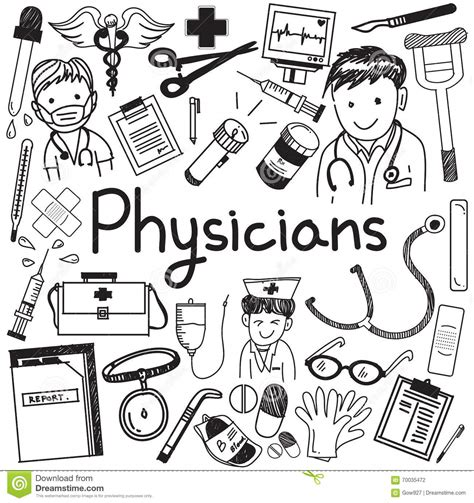 doodle doctor who physician doctor and other medic professions doodle icon