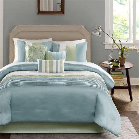 pale blue comforter set beautiful elegant modern light blue green white textured