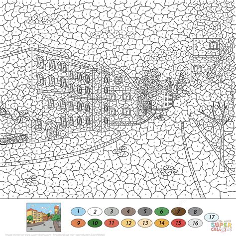 town color by number free printable coloring