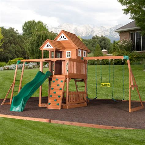 swing sets with installation included worthington cedar playset with free installation
