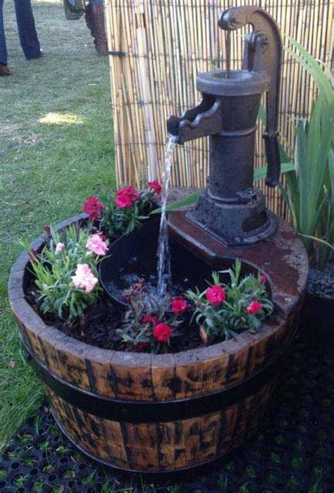 barrel planter with 3 pots resin water feature best 25 ideas ideas on diy water