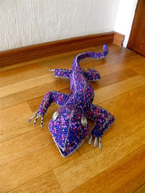 bead and wire animals beaded wire animal sculpture lizard large purple