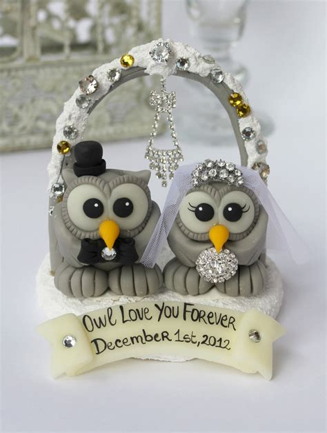 8 Ideas For An Owl You Wedding by Owl Bling Cake Topper Bird Wedding Cake By Perlillapets