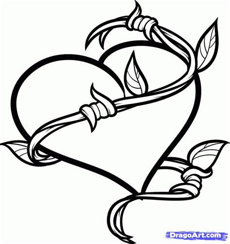 How To Draw A Barbed Heart Tattoo Step By Step Tattoos Barb Wire Drawings
