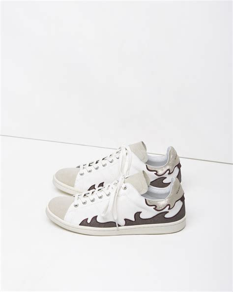 marant slippers lyst 201 toile marant gilly low top sneakers in metallic