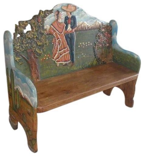 hand painted benches mariachi and bride hand painted mexican bench rustic