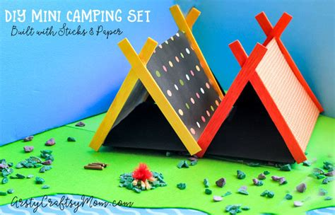tent craft for diy mini cing set craft with sticks and paper