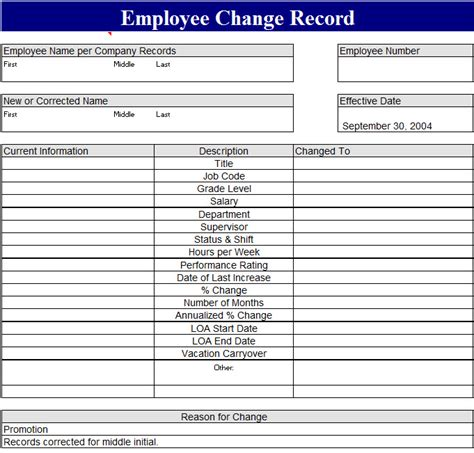 employee record form template employee record change form