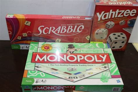monopoly scrabble unopened monopoly yahtzee and scrabble