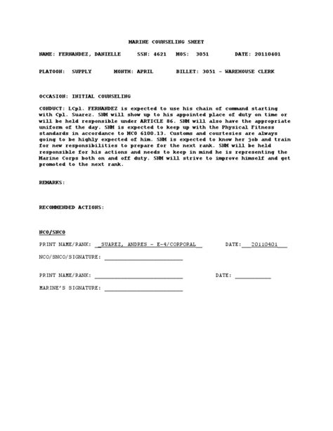 usmc counseling sheet template usmc counseling outline