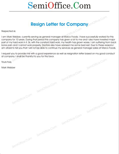 Resign Letter To Company by Resignation Letter To A Company Semioffice Semioffice