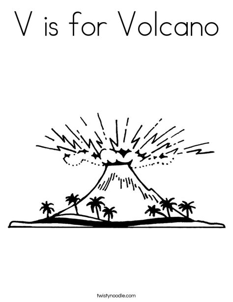 V Is For Coloring Page by V Is For Volcano Coloring Page Twisty Noodle
