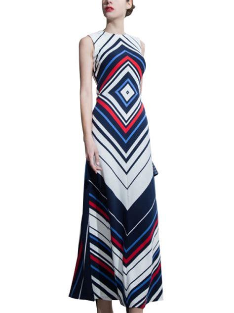 geometric pattern maxi dress navy blue geometric pattern color block maxi dress metisu