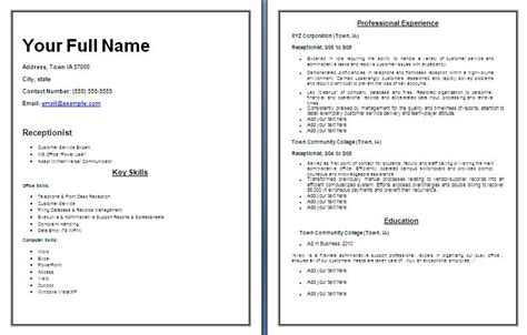 resume templates for receptionist position resume templates free word s templates