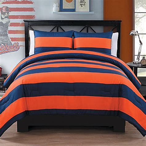 buy rugby 2 piece twin twin xl comforter set in orange