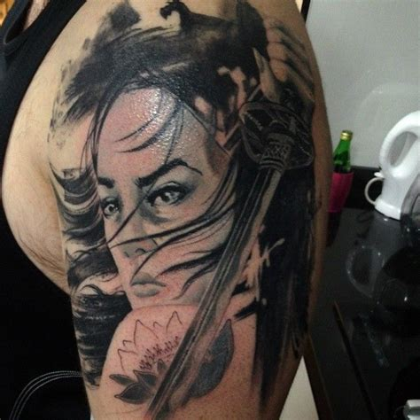 geisha assassin tattoo japanese tattoo irezumi arm half sleeve geisha chick
