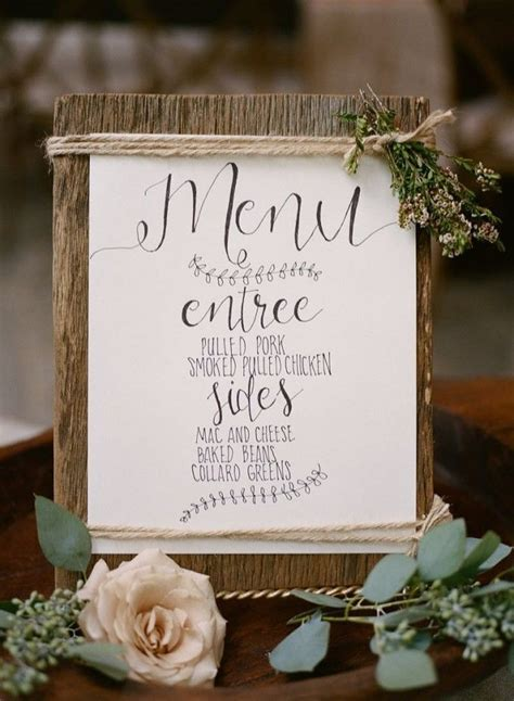 25  best ideas about Rustic wedding menu on Pinterest