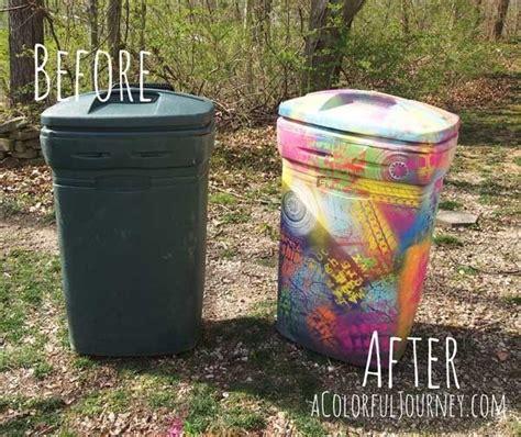 trashy graffiti stenciling painted trash cans chalk