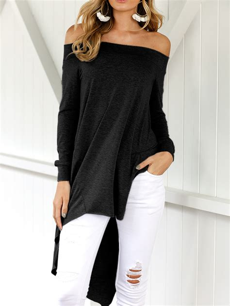 43369 Black Leisure S M L Shoulder Top Le080617 Import Vn159 leisure dew shoulder asymmetrical black cotton blends shirts blouses shirts top lovelywholesale